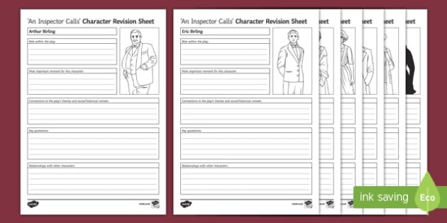 An Inspector Calls Characters Activity Sheet Pack, worksheet