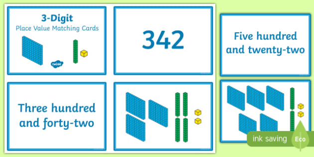 3 Digit Place Value Matching Cards - 3 digit, place value, matching, match, cards, activity, mathematics