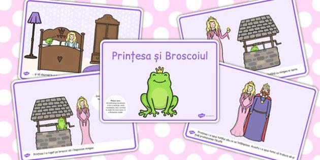 Printesa si broscoiul, rezumat cu imagini, planse imprimabile, Romanian