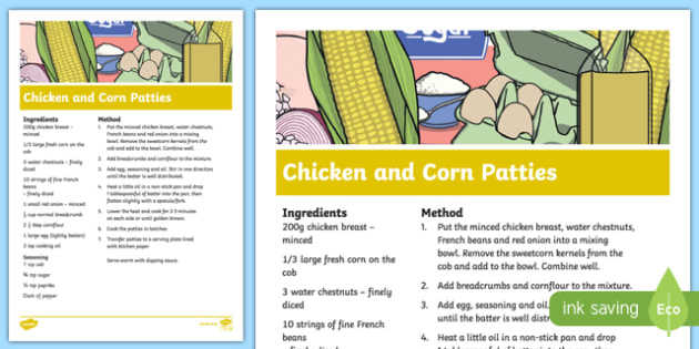 Chicken and Corn Patties Recipe - cooking, recipe, autumn, eyfs, early years, chicken, corn, patties