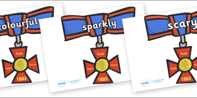 Wow Words on Medals - Wow words, adjectives, VCOP, describing, Wow, display, poster, wow display, tasty, scary, ugly, beautiful, colourful sharp, bouncy
