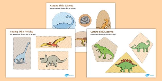 Dinosaur Themed Cutting Skills Activity Sheets - cut, fine motor skills