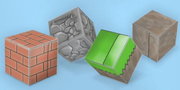Textured Paper Model Building Blocks 1 - building, blocks, minecraft