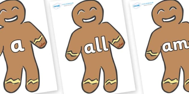 Foundation Stage 2 Keywords on Gingerbread Men - FS2, CLL, keywords, Communication language and literacy,  Display, Key words, high frequency words, foundation stage literacy, DfES Letters and Sounds, Letters and Sounds, spelling