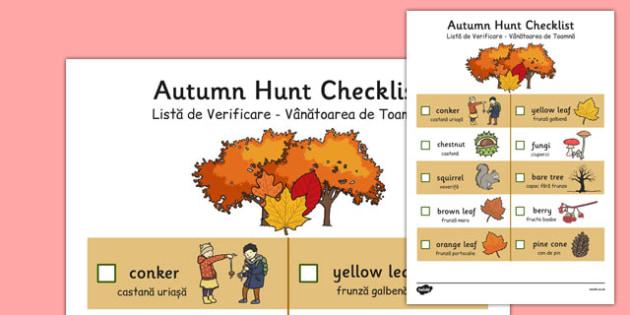 Autumn Hunt Checklist Romanian Translation - romanian, autumn, hunt, checklist