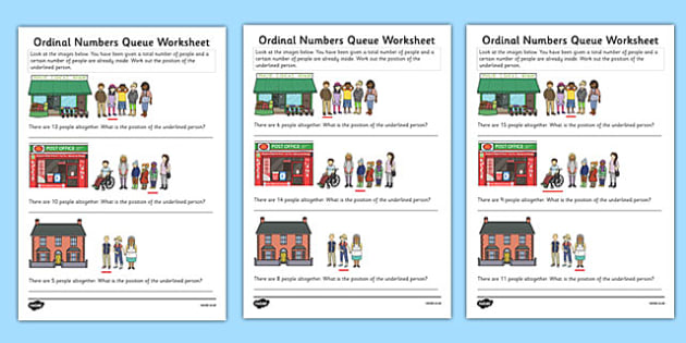 Ordinal Numbers Queue Worksheet - ordinal numbers, queue, worksheet