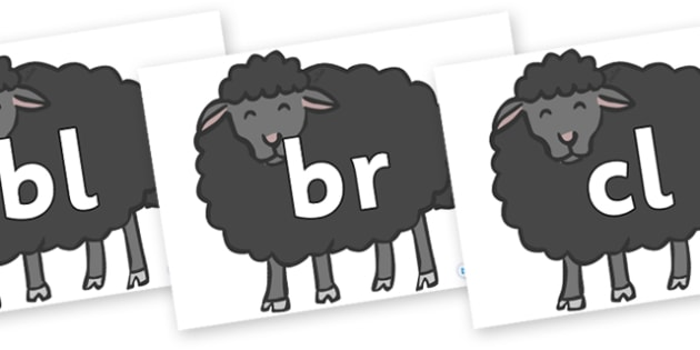 Initial Letter Blends on Baa Baa Black Sheep - Initial Letters, initial letter, letter blend, letter blends, consonant, consonants, digraph, trigraph, literacy, alphabet, letters, foundation stage literacy