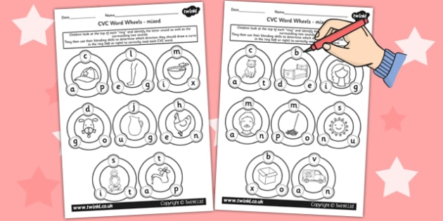 CVC Word Wheel Worksheets mixed - CVC words, wheel, visual aid