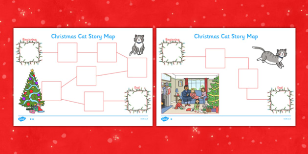 Christmas Cat Story Map Activity Sheet - mog, christmas cat, story map, activity, sheet, worksheet