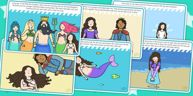 The Little Mermaid Story Cards - stories, book, traditional tales