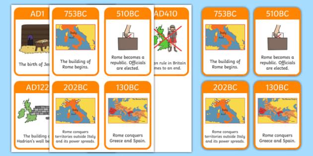 Roman Empire Timeline Cards - Romans, Rome, Roman Empire, timeline, timeline cards, flashcards, cards, colosseum, pantheon, Julius Caesar, emperor, gladiator, amphitheatre