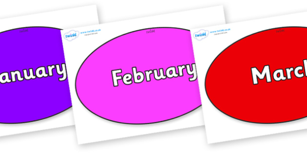 Months of the Year on Ovals - Months of the Year, Months poster, Months display, display, poster, frieze, Months, month, January, February, March, April, May, June, July, August, September
