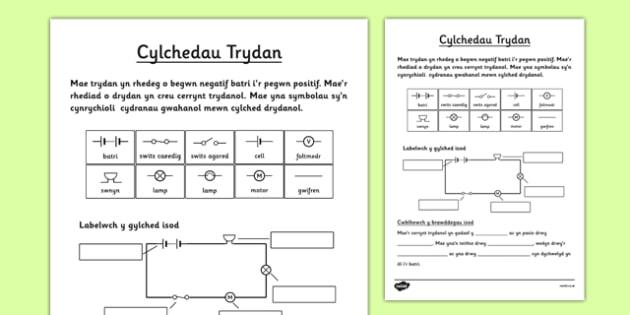 Cylchedau Trydan Welsh - welsh, electric, circuits, worksheet
