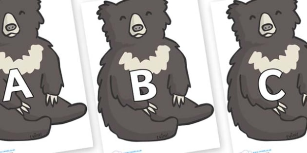 A-Z Alphabet on Bears - A-Z, A4, display, Alphabet frieze, Display letters, Letter posters, A-Z letters, Alphabet flashcards