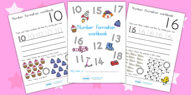 Number Formation Workbook 10 20 - number formation, motor skills
