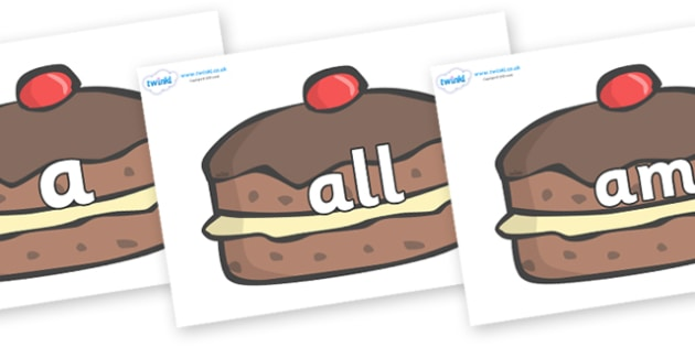 Foundation Stage 2 Keywords on Chocolate Buns - FS2, CLL, keywords, Communication language and literacy,  Display, Key words, high frequency words, foundation stage literacy, DfES Letters and Sounds, Letters and Sounds, spelling
