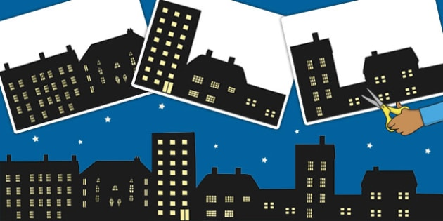 Houses Silhouette Cut-Outs - houses, silhouettes, shadows, display