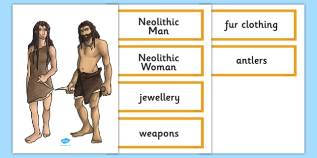 Stone Age Man and Woman Cut Out and Labels - stone age, man, woman, cut out, labels