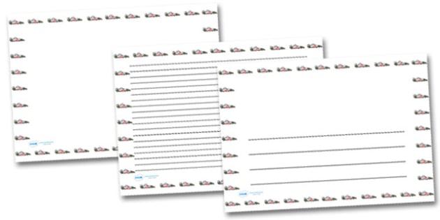 Race Car Landscape Page Borders- Landscape Page Borders - Page border, border, writing template, writing aid, writing frame, a4 border, template, templates, landscape