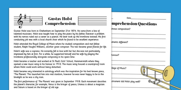 Gustav Holst Reading Comprehension Activity - holst, comprehension