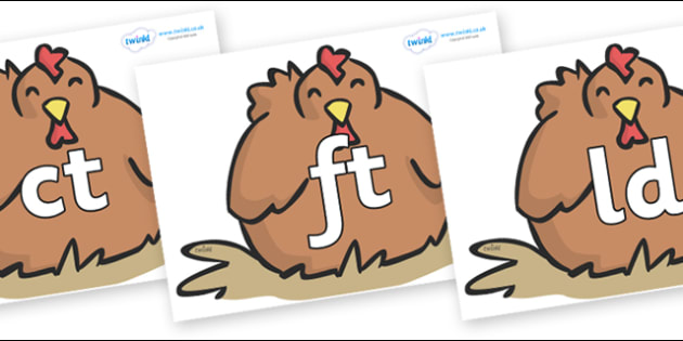 Final Letter Blends on Chickens - Final Letters, final letter, letter blend, letter blends, consonant, consonants, digraph, trigraph, literacy, alphabet, letters, foundation stage literacy