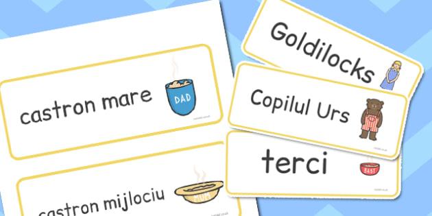 Goldilocks si cei trei ursi, cartonase cu imagini si cuvinte , Romanian