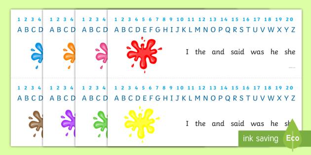 Splat Combined Number and Alphabet Strips - alphabet, number