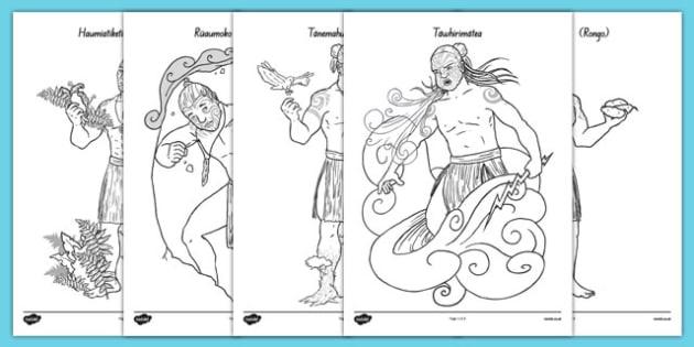 Māori Gods Colouring Sheets - nz, new zealand, Maori Gods, colouring posters