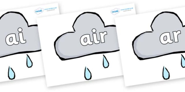Phase 3 Phonemes on Weather Symbols (Rain) - Phonemes, phoneme, Phase 3, Phase three, Foundation, Literacy, Letters and Sounds, DfES, display