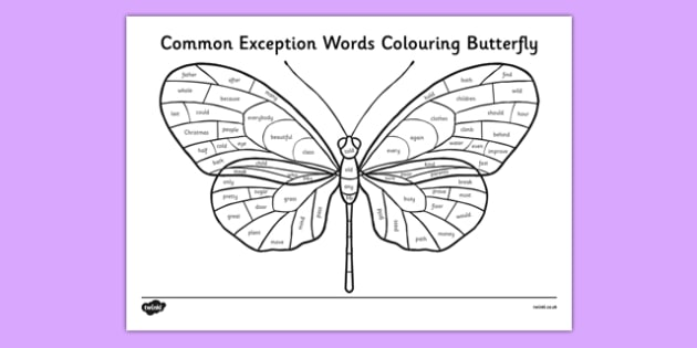 Year 2 Common Exception Words Colouring Butterfly - reward, award, spelling, reading, writing, literacy, English, SPaG, Letters and Sounds