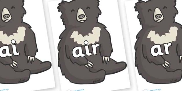 Phase 3 Phonemes on Bears - Phonemes, phoneme, Phase 3, Phase three, Foundation, Literacy, Letters and Sounds, DfES, display