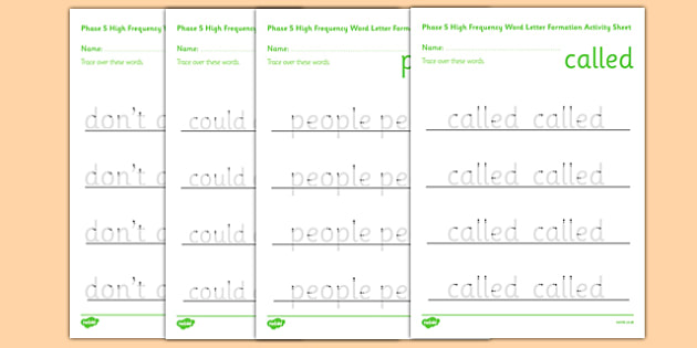 Phase 5 High Frequency Word Letter Formation Activity Sheet - phase 5, high frequency words, letter formation, activity, sheet, worksheet
