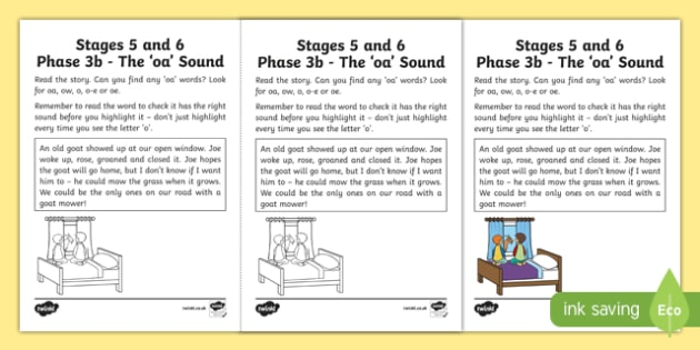 Linguistic Phonics Stage 5 and 6 Phase 3b, 'oa' sound Activity Sheet, worksheet