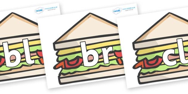Initial Letter Blends on Sandwiches to Support Teaching on The Lighthouse Keeper's Lunch - Initial Letters, initial letter, letter blend, letter blends, consonant, consonants, digraph, trigraph, literacy, alphabet, letters, foundation stage literacy