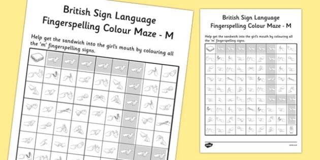 British Sign Language Fingerspelling Colour Maze M - colour, maze