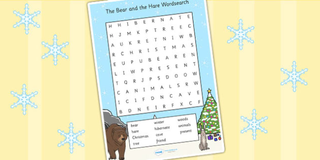 The Bear and the Hare Wordsearch - bear and the hare, wordsearch