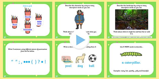 Literacy Morning Work Activities PowerPoint - literacy, adjectives powerpoint, nouns powerpoint, punctuation powerpoint, wow words powerpoint, descriptions