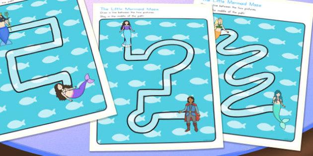 The Little Mermaid Pencil Control Path Worksheets - australia