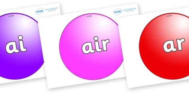 Phase 3 Phonemes on Spheres - Phonemes, phoneme, Phase 3, Phase three, Foundation, Literacy, Letters and Sounds, DfES, display