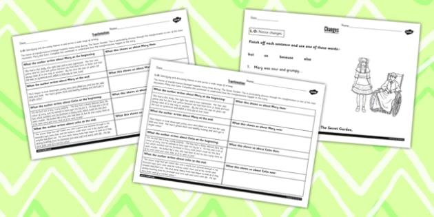 The Secret Garden Transformation Theme Differentiated Worksheets
