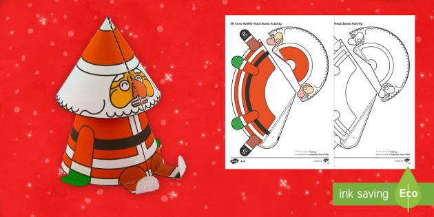 Simple 3D Cone Bobble Head Santa Christmas Paper Craft