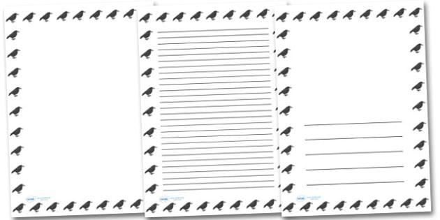 Raven Portrait Page Borders- Portrait Page Borders - Page border, border, writing template, writing aid, writing frame, a4 border, template, templates, landscape