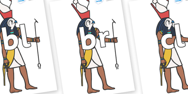 Initial Letter Blends on Egyptian Gods - Initial Letters, initial letter, letter blend, letter blends, consonant, consonants, digraph, trigraph, literacy, alphabet, letters, foundation stage literacy