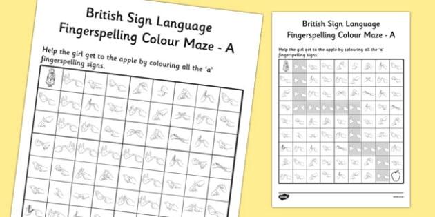 British Sign Language Left Handed Fingerspelling Colour Maze A