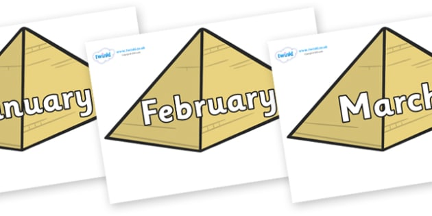 Months of the Year on Pyramids - Months of the Year, Months poster, Months display, display, poster, frieze, Months, month, January, February, March, April, May, June, July, August, September