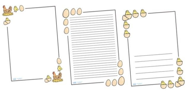 Hen Life Cycle Page Borders - Hen,  life cycle, lifecycle, pet, Page border, border,  KS1, writing Borders, chick, chicken, egg, hatch, knowledge and understanding of the world