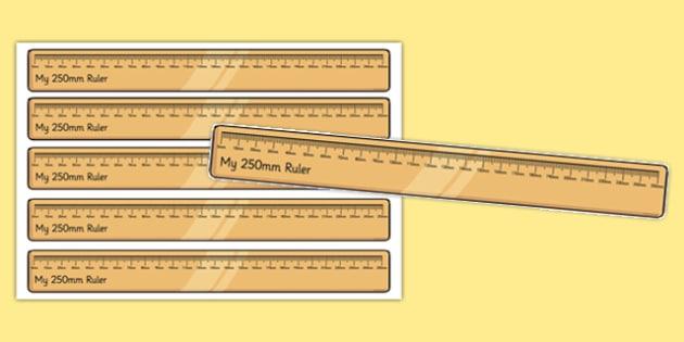 250 Millimetre Ruler Cut Outs - 250 millimetre, ruler, cut outs, millimetre, display