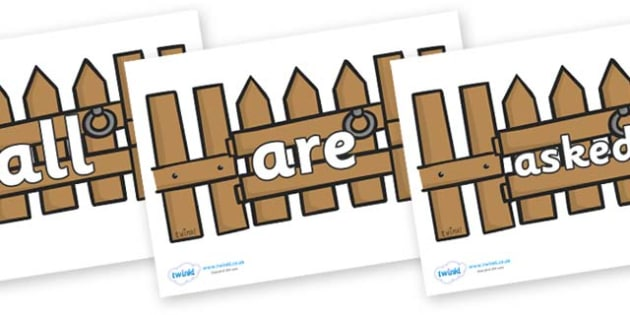 Tricky Words on Fences - Tricky words, DfES Letters and Sounds, Letters and sounds, display, words