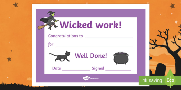 Wicked Work Halloween Certificate