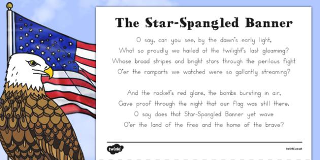USA National Anthem 'The Star-Spangled Banner' Sheet - us, united states, america, american, song, sing, anthem, celebrate, celebration, patriotic, patriotism, lyrics, words